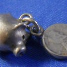 vintage PIGGY BANK CHARM w/ ATTACHED PENNY / UNMARK TESTED SILVER
