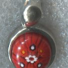 Red Alan K Millefiori Murano Glass Pendant Sterling 925 Silver 12mm - NWOT