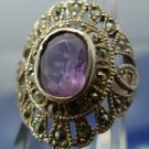 "Size 6 Ring : Sterling silver Marcasite and Amethyst signed  ""GM"" or ""CM"" Thai"