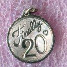 "Vintage ""Finally 20"" Birthday Charm : Sterling 925 Silver"