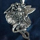 NWOT BEAUTIFUL sterling silver FLOWER FAIRY PENDANT 38mm TALL