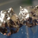 Vintage Post Earrings : Sterling 925 Silver Cougar or Bobcat Faces