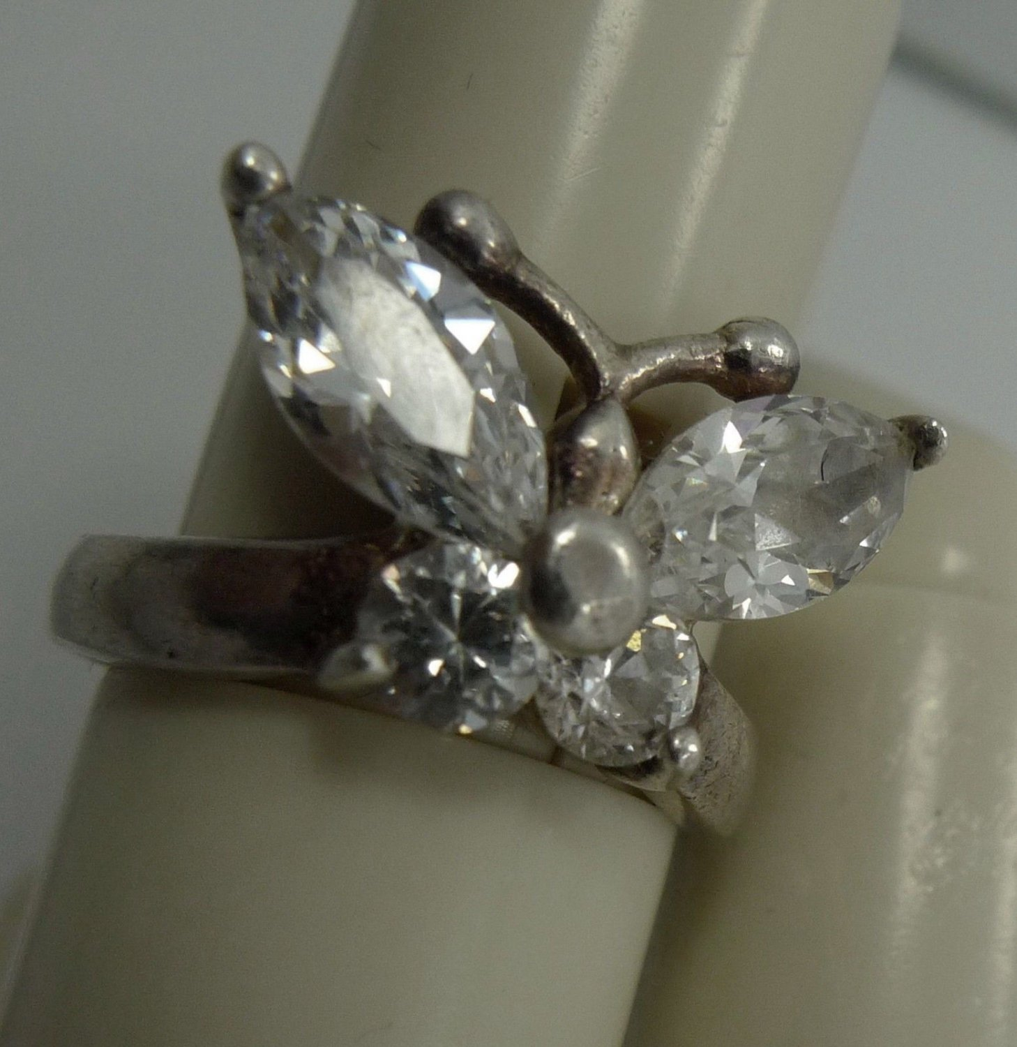 Size 5.5 Ring : Butterfly Sterling Silver & Mostley CZ 18mm at the Widest Point