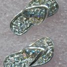 UNMARKED CZ SANDALS PIERCED POST STUD 16mm TALL EARRINGS