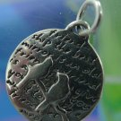 Inspirational Kevin & Anna  Charm 950 Silver / TWO BIRDS = FRIENDSHIP QUOTE / 16