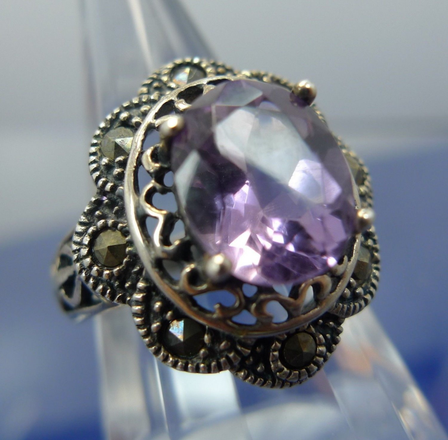 Size 7 Ring : Vintage Marcasite & Amethyst Set in Sterling signed T (in diamond)
