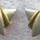UNMARKED PRECIOUS METALS / SATIN FINISH / UNIQUE SHAPE PIERCED POST EARRINGS