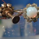 "Screw Back Earrings : Vintage Sterling Opal & Rhinestone Signed Arrow Pierced ""G"