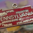 vintage RED ENAMEL TRAVEL SOUVENIR MAP CHARM :  PENNSYLVANIA : F STERLING