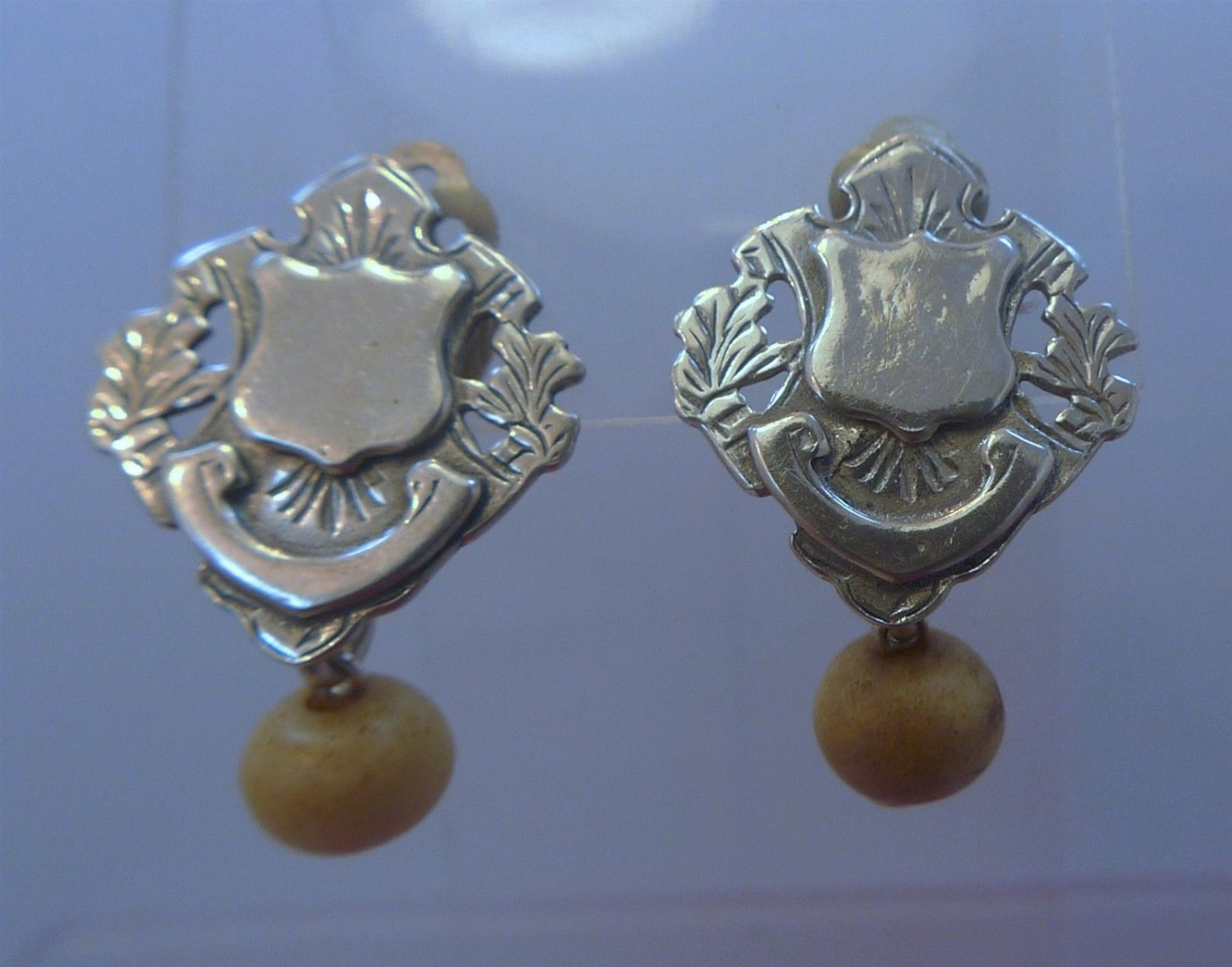 Clip Earrings : Vintage Hand Made Silver Shield Or Crest Earrings w/ Bead