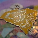 vintage YELLOW ENAMEL TRAVEL SOUVENIR MAP CHARM : S. CAROLINA : F STERLING 24mm