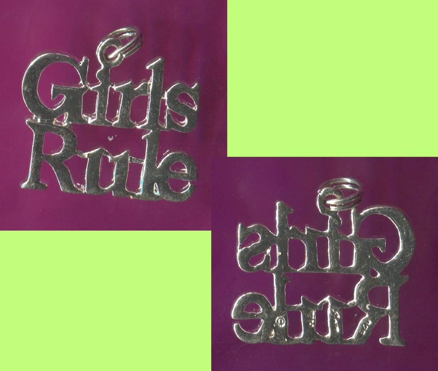 STERLING 925 Silver Charm : GIRLS RULE !!!  signed JEZ
