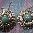 Vintage Hook Earrings : Sterling Silver Blue Turquoise Dangling Daisy Signed