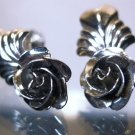 Screw Back Earrings : Vintage Sterling 925 Silver Roses Flowers by Bond Boyd