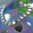 Sterling 925 Silver Heart Links 6.5 inch A.M. Charm Bracelet w/ Heart Charm