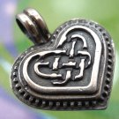 Vintage Heart Pendant : Sterling Silver Unusual Marks Celtic / Tribal marked USA