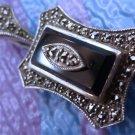 Vintage Pendant Sterling Silver Sparkling Marcasite On Cobalt Deep Blue Stone