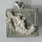 "TRAVEL SOUVENIR CHARM : RAISED MAP OF MEXICO made in/by TAXCO : EAGLE STAMP ""6"""