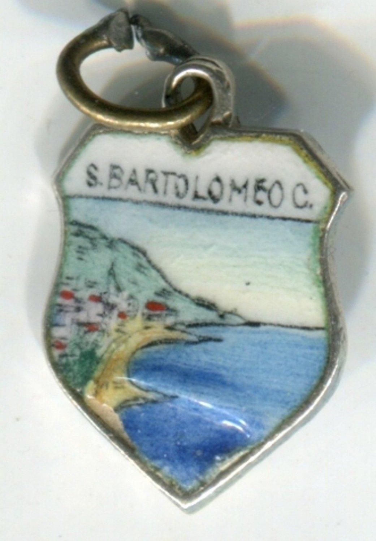 S BARTOLOMEO C Enamel & 800 Silver Travel Shield Souvenir Charm