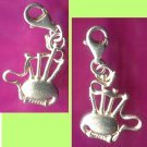 Vintage Scottish Musical Bagpipes Charm MG STERLING 925 Silver