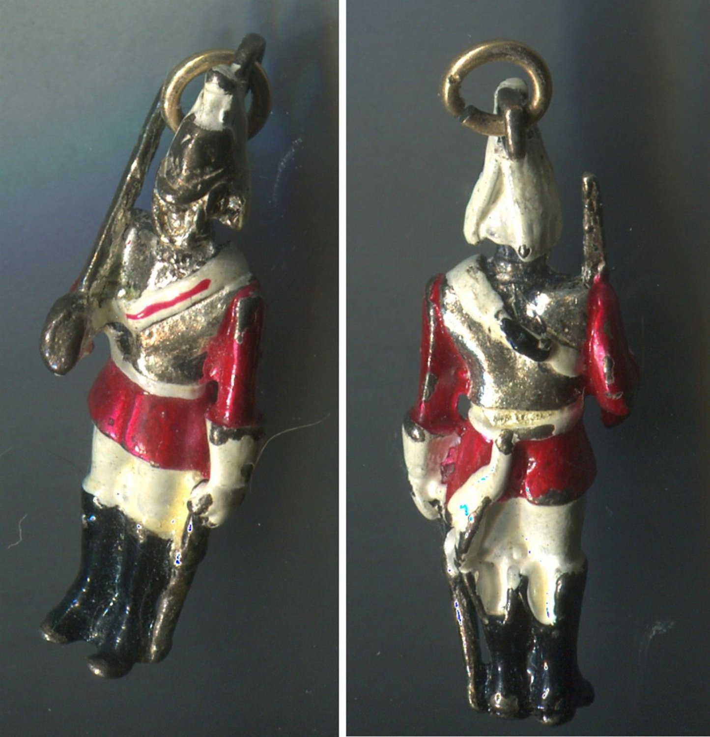 Vintage Enamel Charm : Queen's Guard / Life Guards Regiment Officer