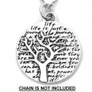 Inspirational Kevin & Anna  Charm 950 Silver / TREE = LIFE QUOTE / 16mm