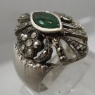 Size 8 Ring : Vintage Sterling Silver Marcasite & Marquis Jelly Green signed ND