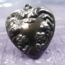 vintage HEART charm SILVER : PUFFY FLOWER DESIGN NOUVEAU HEART - NO MONOGRAM
