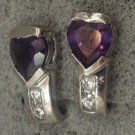 Post Earrings : Amethyst Heart Above 2 Cubic Z :  Post Sterling Silver Earrings