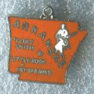 VINTAGE ENAMEL U.S. STATE MAP CHARM : ARKANSAS TRAVEL SOUVENIR / JAPAN / NO MARK