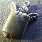 Vintage Sterling Charm : Garden Fairy Peeking Over a Wall   #24483 OMG