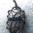 "Vintage ""Sweet 16"" (Sixteen) Birthday Charm :  Enamel & Filigree / Beau Sterling"