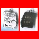 vintage WHITE ENAMEL TRAVEL SOUVENIR MAP CHARM :  MISSOURI : TEENY CHIP