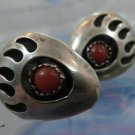Vintage Sterling Native American Bear Claw Stud Earrings w/ Coral Cabochon Stone