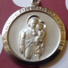 Silver Religious Medal / Charm : St. Joseph Patron Saint of Workers Pray for Us