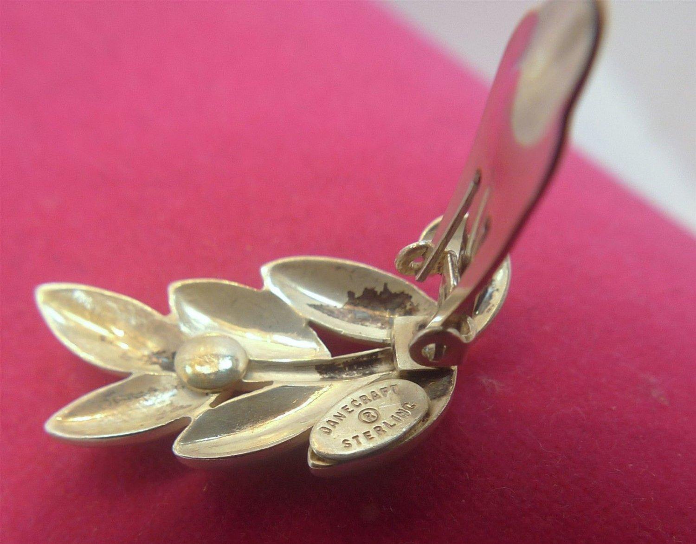Clip Earrings : Vintage Sterling 925 Silver Clips By Danecraft - 6 Petal Flower