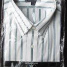 SHIRT MEN BIG MAN SHORT SLEEVE 17 1/2 NECK WHITE WITH GREEN STRIPES BUTTON DOWN