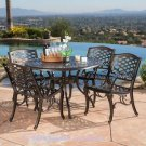 OUTDOOR PATIO DINING SET 5-PIECE CAST ALUMINUM BRONZE  FOUR (4) DINING CHAIRS