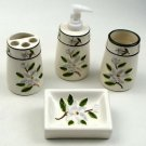 BATHROOM SET CERAMIC DISH SOAP DISPENSER TOOTHBRUSH HOLDER CUP MAGNOLIA MOTIF