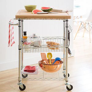 Kitchen Cart Chrome Bamboo Top Cutting Board Storage Rolling Island Shelves New