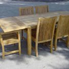 Table Teak 95 Inch Rectangular Bahama Double (2) Leaf Extensions Patio Deck Yard