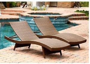 Chaise Lounge Wicker Adjustable Brown 2-Set Pool Outdoor Patio Deck Yard Garden