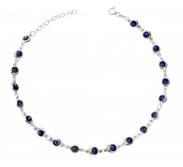"Blue Evil Eye Beads Anklet Bracelet on 925 Sterling Silver Adjustable 8.5"" - 9.5"""