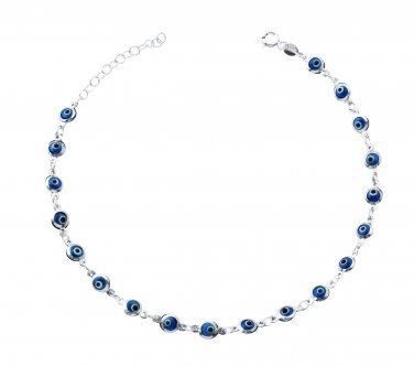 """Baby Blue Evil Eye Beads Anklet Bracelet on 925 Sterling Silver Adjustable 8.5"""" - 9.5"""""""