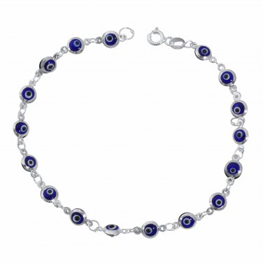 Blue Evil Eye Beads on 925 Sterling Silver Bracelet 7.5""