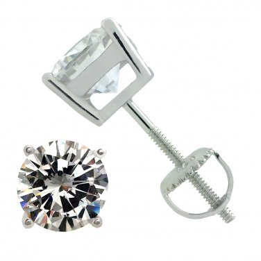 925 Sterling Silver Screw Back Round Cz Stud Earrings Rhodium Plated 7mm