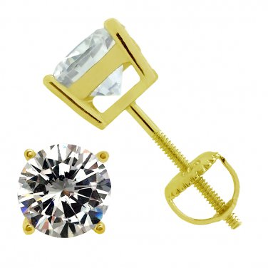 Yellow Gold Plated 925 Sterling Silver Screw Back Round Cz Stud Earrings 6mm