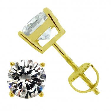 Yellow Gold Plated 925 Sterling Silver Screw Back Round Cz Stud Earrings 7mm