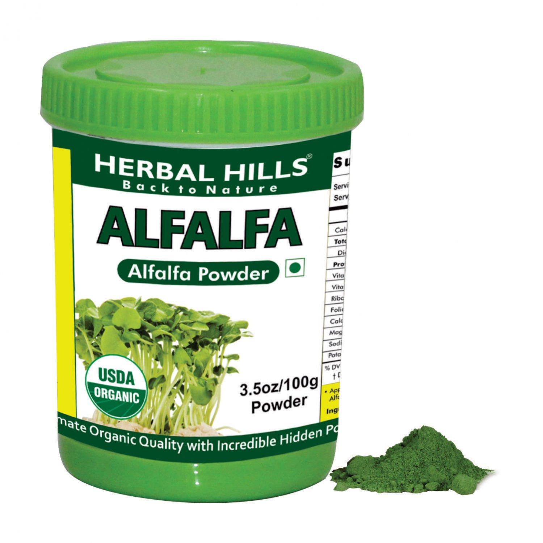 Organic Alfalfa medicago sativa 3.5 oz/100 gms powder