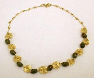 Rhyolite & Gold Scroll Necklace SRAJD